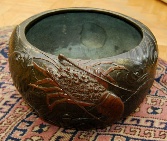 A large Oriental bronze pot