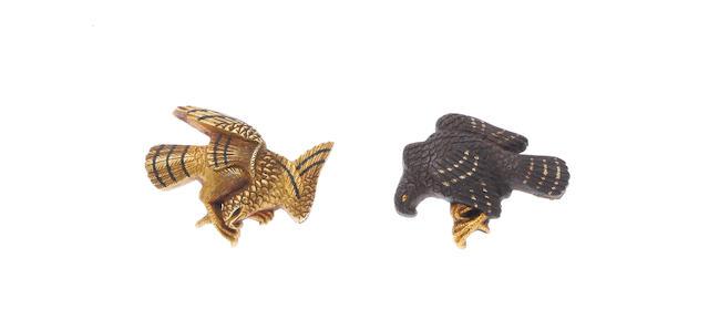 A pair of gold and iron menuki By Kawarabayashi Hidekuni (1825-1891), 19th century