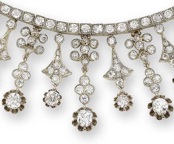 A late 19th century diamond fringe necklace,