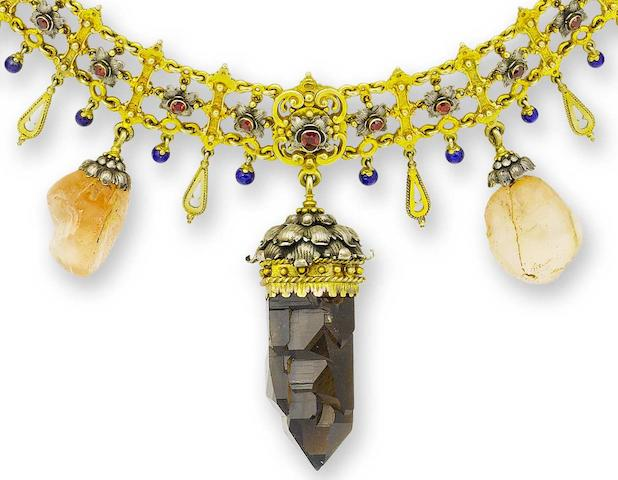 A rare silver gilt, paste and gem-set collar necklace,