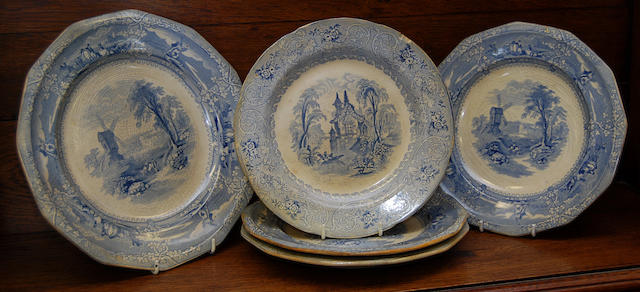Five Wolliscroft blue printed dinner plates