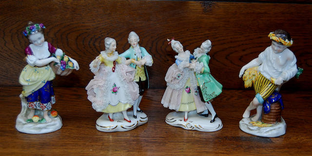 A pair of Dresden figures