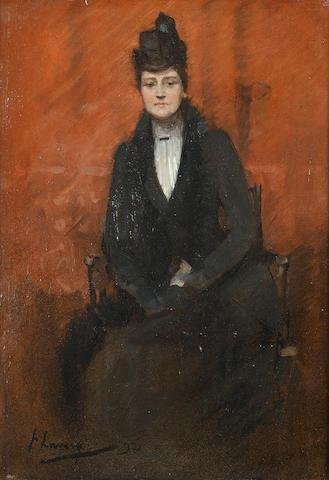 Sir John Lavery R.A., R.S.A., R.H.A. (1856-1941) Portrait of Helen Bell 37 x 28 cm. (14 1/2 x 11 in.)