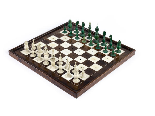 An Indian ivory travelling chess set with a rosewood and ivory board, Vizagapatam, circa 1790,