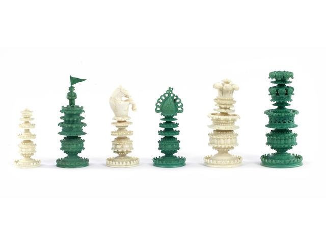 An Indian Export ivory chess set, Bengal, circa 1810,