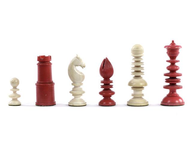 An ivory chess set, England, circa 1800,