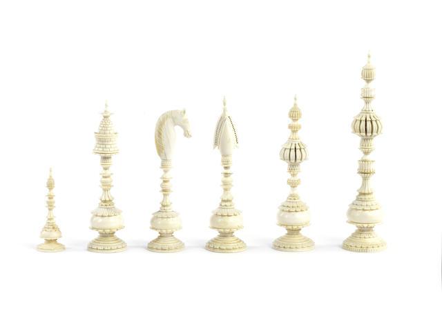 "A ""Pepys"" ivory chess set, Vizagapatam, India, circa 1800,"