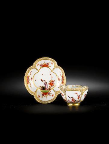 A rare Meissen quatrelobe teabowl and saucer circa 1730-35