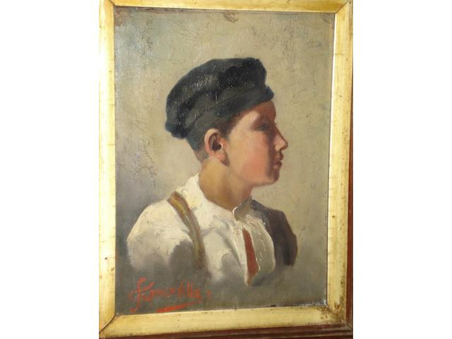 Edith Oenone Somerville (Irish, 1857-1949) The head of a young boy, wearing a cap,