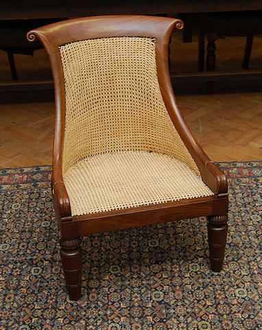 A mahogany-framed and canework nursing chair, 19th Century