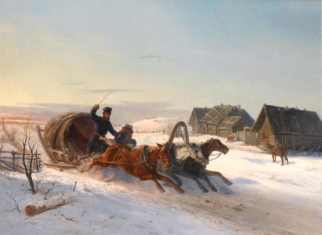 Nikolai Egorovich Sverchkov (Russian, 1817-1898) Galoping troyka in the snow