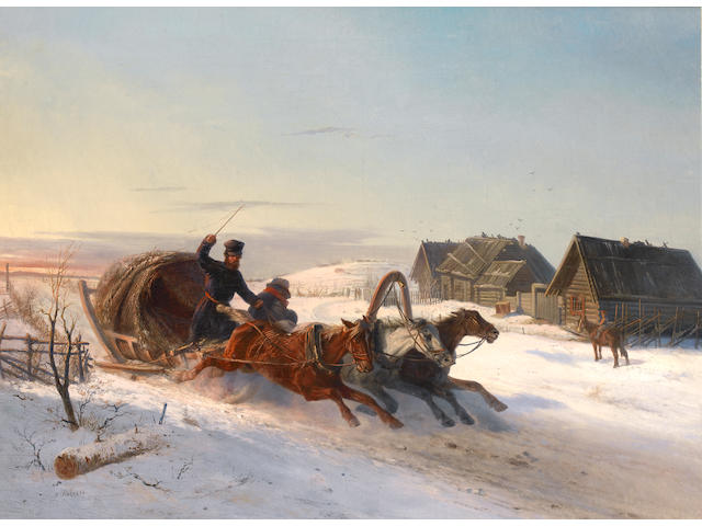 Nikolai Egorovich Sverchkov (Russian, 1817-1898) A troika galloping through the snow