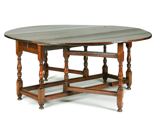 A large and impressive oak gateleg table, circa 1700