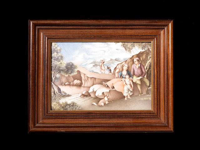 A rare famille rose 'European-subject' panel 18th century