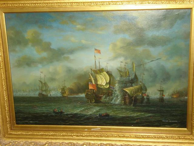 Continental school, later 20th century A naval engagement between the Dutch and British fleets, in the manner of William van de Velde,