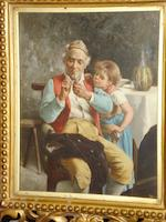 Follower of Eugenio Zampighi (Italian, 1859-1944) An old gentleman with grandchild, together with another, of an elderley couple, a pair,