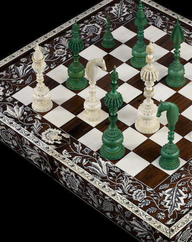 "A ""Pepys"" ivory chess set, Vizagapatam, India, circa 1800,"