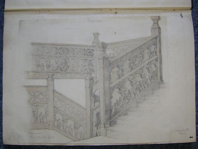 Edgar Wood and J. Hubert Worthington An album of drawings and sketches, mostly architectural subjects, mostly old buildings and towns,