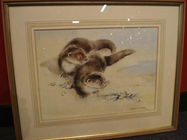 Eileen Alice Soper, RMS (British, 1905-1990) Otter cubs and seashells,