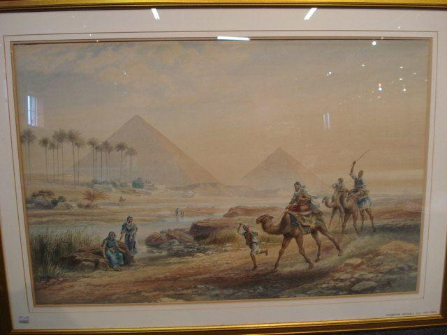 Circle of Frederick Goodall, RA (British, 1822-1904) A camel race before the pyramids,