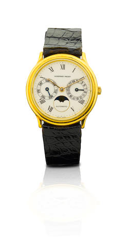 Audemars Piguet. A fine 18ct gold automatic wristwatch with calendarDay-Date-Automatic, Case No. C3409, Circa 1980s