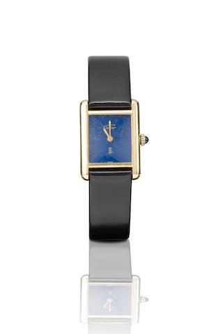 Cartier. A fine silver manual wind rectangular wristwatch Case no. 3128050, Circa 1970s