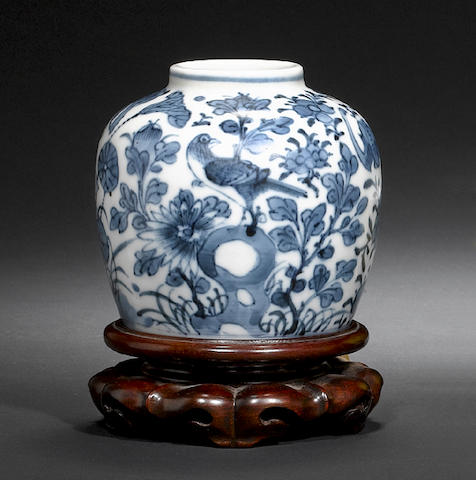 Six blue and white wares, including: an oviform vase with four-character Kangxi mark;