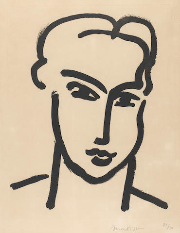 Henri Matisse (French, 1869-1954) Grande Tête de Katia Aquatint, 1950, on BFK Rives, signed and numbered 23/50 in pencil, 540 x 420mm (21 1/4  16 1/2in)(PL)