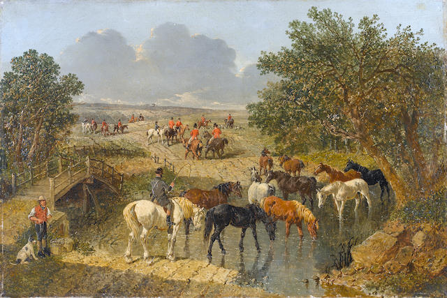 John Frederick Herring, Snr. (British, 1795-1865) Horses watering with a hunt beyond unframed