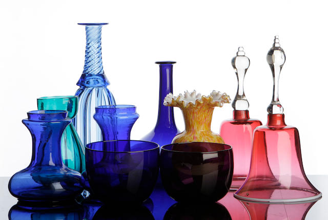 A collection of coloured glass 19th century
