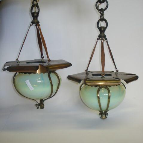 A pair of copper and vaseline glass ceiling lights in the manner of W.A.S. Benson