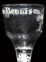 A rare enamelled 'Beggar's Benison' opaque-twist wine glass circa 1770