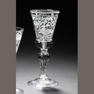 A Central German engraved wine glass  first half 18th century