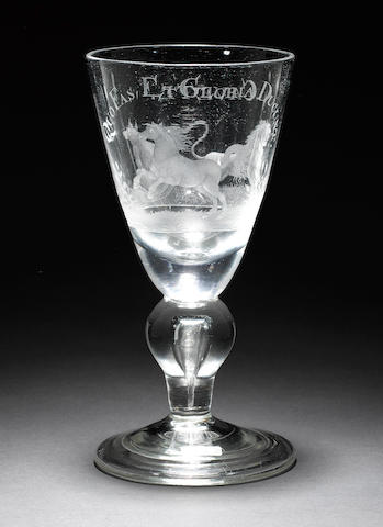 A fine and interesting engraved heavy baluster goblet circa 1720