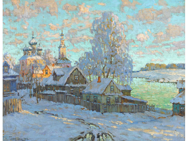 Konstantin Ivanovich Gorbatov (Russian, 1876-1945) A snow-covered village in the sun