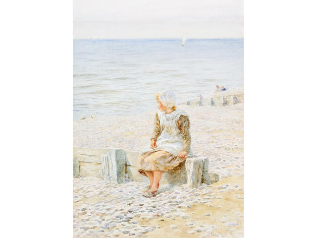 Helen Allingham, RWS (British, 1848-1926) Girl seated on a beach