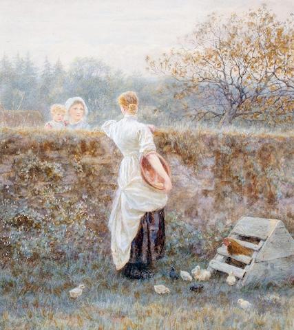 Helen Allingham, RWS (British, 1848-1926) Over the garden wall