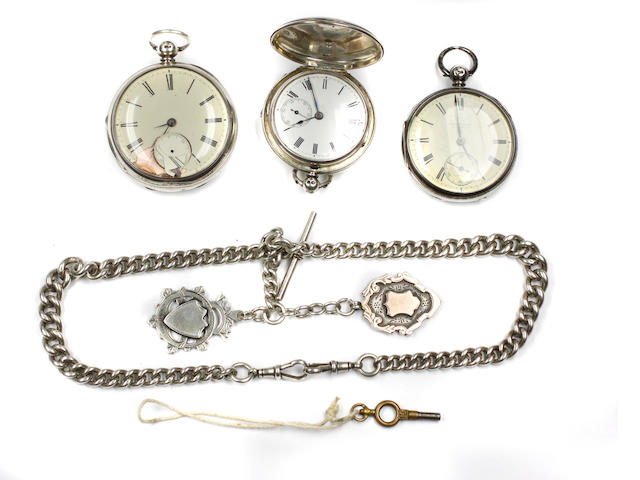 Three silver cased pocket watches,