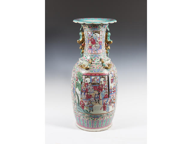 A large Chinese export famille rose vase Circa 1900.