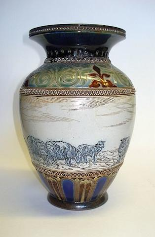 Lambeth A Doulton Lambeth vase by Hannah Barlow, Dated 1885