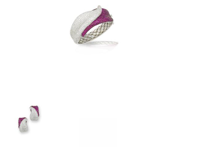 A ruby and diamond bangle and earring suite (2)