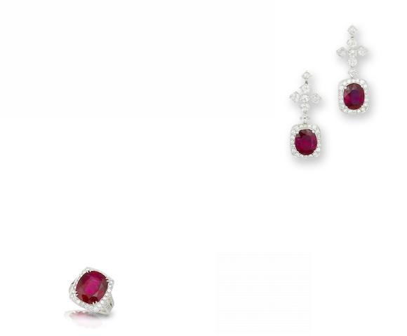 A rubellite and diamond earring and ring suite (2)