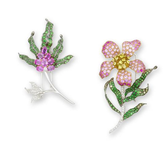 A gem-set brooch set (2)