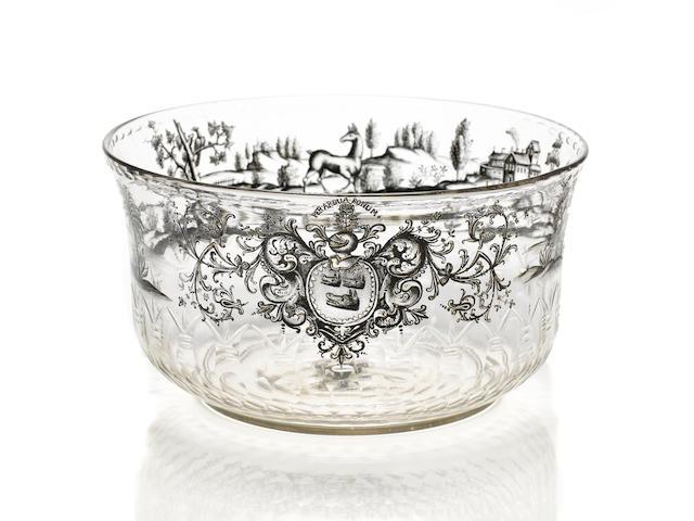 A fine Bohemian or Saxon 'Schwarzlot' enamelled and gilt armorial bowl circa 1730