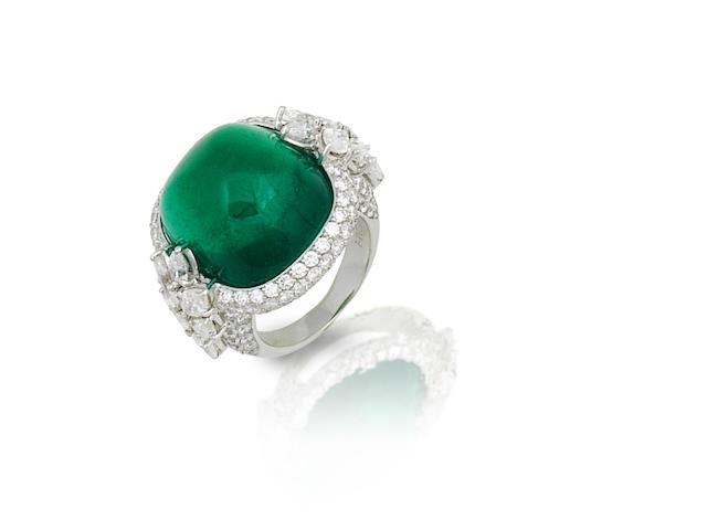 A fine emerald and diamond ring, by Hatik