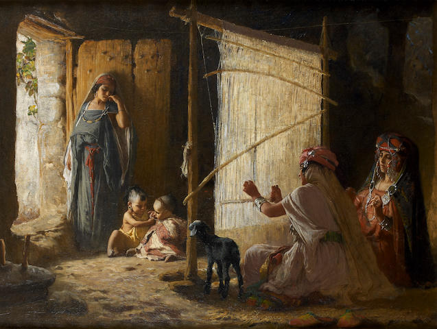 Frederick Arthur Bridgman (American, 1847-1928) Women in Biskra weaving the Burnoose