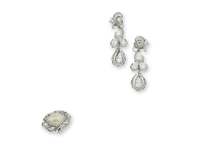 A diamond ring and earring set
