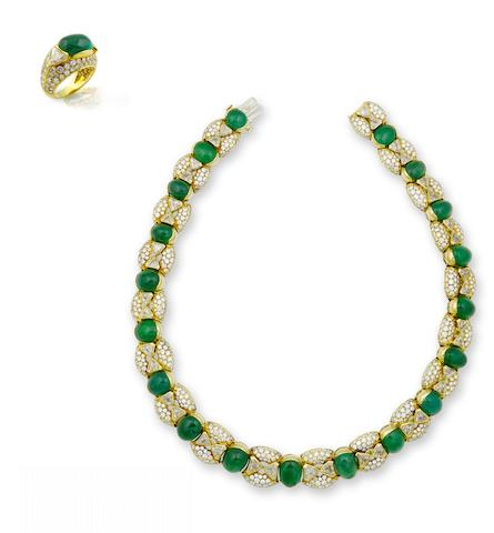 An emerald and diamond necklace and ring suite, by Cartier (2)