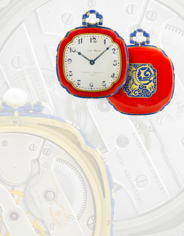 Vacheron & Constantin. An exceptional 18ct gold with elaborate enamel decoration pocket watchCase No. 8947, Movement No. 397705, Circa 1920s