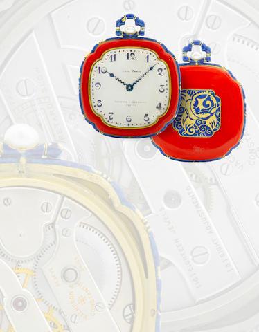 Vacheron & Constantin. An exceptional 18ct gold with elaborate enamel decoration pocket watch Case No. 8947, Movement No. 397705, Circa 1920s